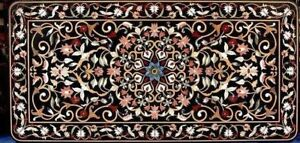 """60"""" x 36"""" Black Marble Dining Center Table Top Mosaic Inlay Work"""