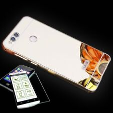 Aluminum Bumper 2-piece Gold + 0,3 H9 Tempered Glass for Huawei Honor 7X Pouch