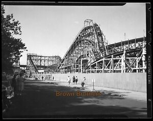 1930s Coney Island Famous Wooden Roller Coaster Cyclone Film Photo Negative #11