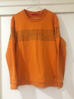Puma Mens Crewneck Graphic Jumper Orange Size M