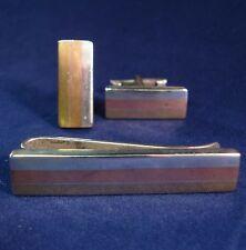 MEXICO METALES CASTILLO Sterling Silver Copper Brass CUFFLINKS & TIE BAR SET