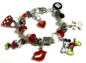 "Minnie & Mickey Mouse Love, Lips, Purse, Heart, CHARM BRACELET 7 1/2"" Adjust."