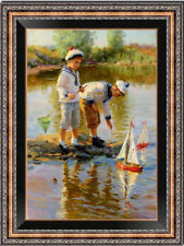 """Original Oil Painting art Impressionis two boy on canvas 24""""X36"""""""