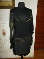 Robe noir stretch bi-matières LMV LA MODE EST A VOUS 44 filet vert manche longue
