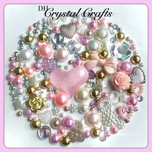 Beige, Baby Pink, Cream And White Crystals & pearls flatbacks for Decoden Crafts