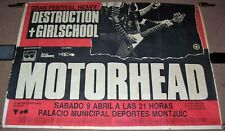 MOTORHEAD GIRLSCHOOL DESTRUCTION CONCERT POSTER SATURDAY 9th APRIL 1988 SPAIN