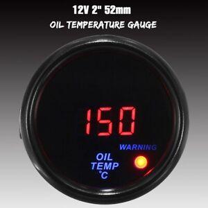 2'' 52mm Universal Oil Temperature Gauge Red Digital Led Oil Temp Meter Tinted