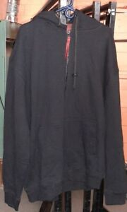 Thick Black Zip Up Hoodie Jacket - 2XL - 5XL