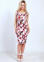 Teaberry Red Pink Floral Pleated Pencil Sheath Dress Size 8 10 12 14 16