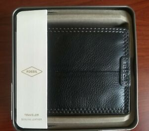Fossil,Wallet,Trifold,Black,Genuine Leather,Men's