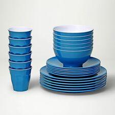Barel Designs Classic Cyan Melamine 48 Piece Dinner Set - Cups, Bowls, Plates