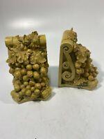 Vintage Corbel Style Bookends Grape Vine Scroll Resin Carved Wood - Set of 2!