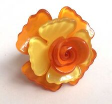 Laurence Coste Yellow & Orange Flower Ring - Size 5.3 cm Circumference