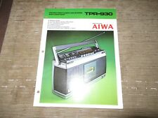AIWA TPR-930 Stereo Portable Cassette player Original Catalogue