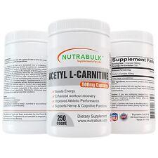 NutraBulk Premium Acetyl L-Carnitine (ALCAR) 500mg Capsules - 250 Count