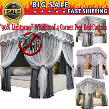 Romantic 90% Anti-glar Lightproof Bed Canopy Mosquito Net Princess+4 Corner Post
