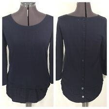 Moth Layered Sweater Tunic Back Button Sz S Navy Blue Eyelet Anthropologie Top