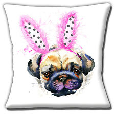 Pug Dog Cushion Cover 16 inch 40cm Funny Dog Wearing Bunny Ears Artistic Modern
