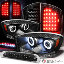 For 07-08 Ram 1500, 07-09 2/3500 Blk Pro Headlights + LED Tail Light + 3rd Brake