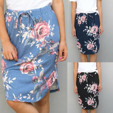 AU Fashion Women High Waist Floral Bodycon A-Line Casual Short Mini Skirt Dress