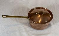 "Vintage ODI Copper & Brass 6 3/4"" Sauce Pan Pot w/ Lid Good Condition"
