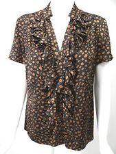 ST JOHN BLACK LABEL Black/Brown Print Jacquard Silk Charmeuse Ruffle Blouse sz 6