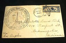 First Flight 1930 NY to LA Stamp Cover with 10 Cent Lindbergh Stamp Indpls IN