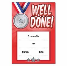 16 A6 teachers reward certificates Well Done ideal for Sports Day - School.