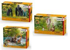 Schleich Wild Life Set 42382 Gorillas+42353 Veterinarian+42352 Inflatable Boat