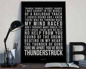 Thunderstruck - A3-size Song Lyrics Typography Art Print ACDC (White on Black)