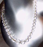Antiguo Checo Cristal Tallado Facetado Collar de Cuentas Graduado Bola Corte