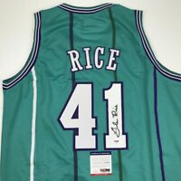 Autographed/Signed GLEN RICE Charlotte Teal Basketball Jersey PSA/DNA COA Auto