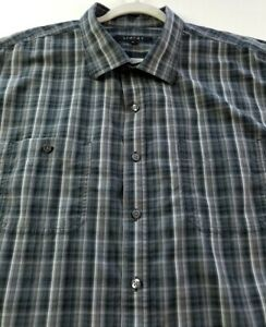 Synrgy Men's Short Sleeve Button Up Shirt 2XL XXL Gray Multicolor Plaid Pockets
