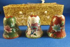 Three (3) Lillian Vernon Vintage Asian Cloisonne Bells - Niob