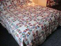 Vintage Quilt Hand Quilted 84x90 Double Wedding Ring Vintage Fabrics never used