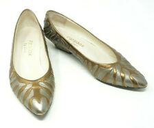 Vintage Paradox By Zalo 1980's Leather Pumps Silver Gold Tiger Zebra Stripe 7.5
