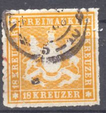 Wuerttemberg 1865 the 18 Kr. used, rouletted, Michel 34,  Scott # 46, signed