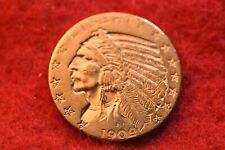 1909-D Us $5 Gold Indian Half Eagle Nice Gold Coin! #200