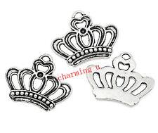 7pz charms ciondoli corona 22x18mm colore argento tibet