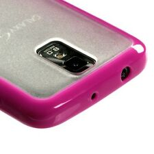 Hot Pink Clear TPU Gel GUMMY Hard Skin Case Cover T-Mobile Samsung Galaxy S II 2