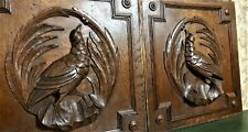 Pair bird hunting trophy wood carving panel Antique french architectural salvage