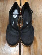 "Teva ""Riviera"" Black Leather & Canvas Mary Jane Wedge Sandals Sz 10"