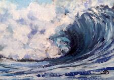 Broadway Original ACEO Impressionism Acrylic 2.5x3.5 in. Seascape Wave painting