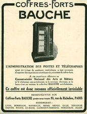 Publicité ancienne coffres-forts Bauche issue de magazine 1925