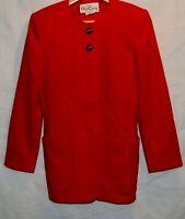 Vintage Oleg Cassini Womens Cherry Red Wool Blend Long Jacket Coat M 80s