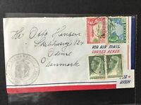 Curacao 1947 Airmail to Denmark stamps cover Ref R28313