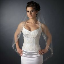 White / Ivory Single Fingertip Embroidered Floral Bugle Beaded Edge Bridal Veil