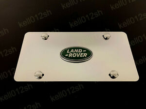 1pc 3D Green LR LOGO Aluminum Mirrored Chrome FRONT License Plate +screwcaps