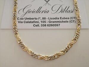 GOLD HALSKETTE Herren Damen 18 Kt 750% Kette Bicolor GELBGOLD WEIßGOLD Collier