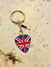 Handmade GB Great Britain British Plectrum Keyring Keychain Gift 561